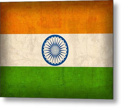 India Flag Vintage Distressed Finish Metal Print by Design Turnpike