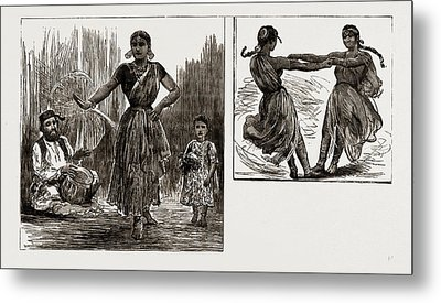 India In London, 1886 A Tanjore Nautch Dancer And Child Metal Print by Litz Collection