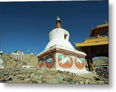 India, Ladakh, Leh, Small White Stupa Metal Print by Anthony Asael
