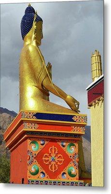 India, Ladakh, Likir, Golden Buddha Metal Print by Anthony Asael