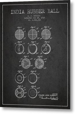 India Rubber Ball Patent From 1935 -  Charcoal Metal Print by Aged Pixel