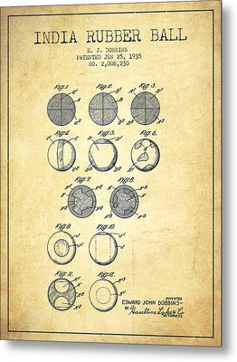 India Rubber Ball Patent From 1935 -  Vintage Metal Print by Aged Pixel