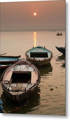 India, Varanasi Boats On The Ganges Metal Print by Gavriel Jecan