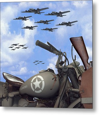 Indian 841 And The B-17 Bomber Sq Metal Print by Mike McGlothlen
