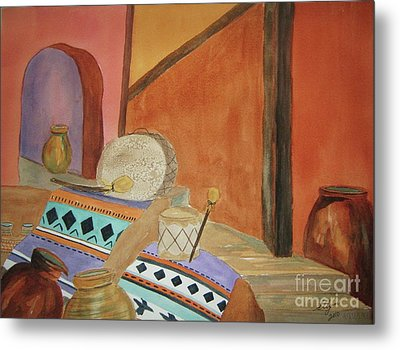 Metal Print featuring the painting Indian Blankets Jars And Drums by Ellen Levinson