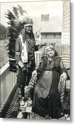Metal Print featuring the photograph Indian Chief And Woman by Charles Beeler