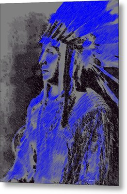 Metal Print featuring the pastel Indian Chief by George Pedro