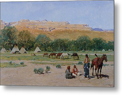 Indian Encampment Metal Print by Henry Farny