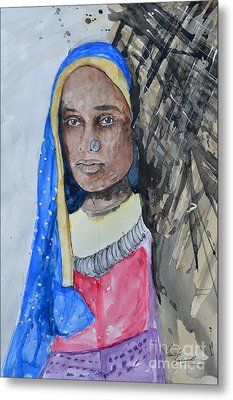 Metal Print featuring the painting Indian Girl by Ismeta Gruenwald
