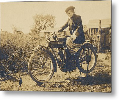 Metal Print featuring the photograph Indian Motorcycle Woman Rider by Paul Ashby Antique Images