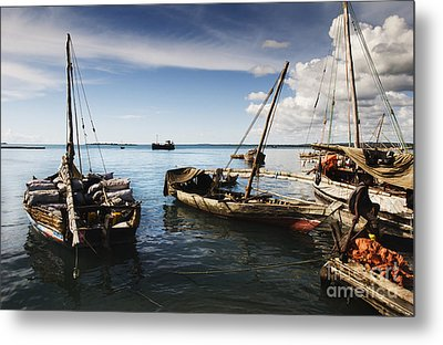 Indian Ocean Dhow At Stone Town Port Metal Print by Amyn Nasser