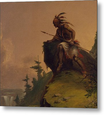 Indian On A Cliff Metal Print