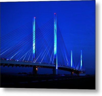 Indian River Bridge At Night Metal Print by Bill Swartwout