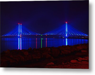 Metal Print featuring the photograph Indian River Inlet Bridge After Dark by Bill Swartwout