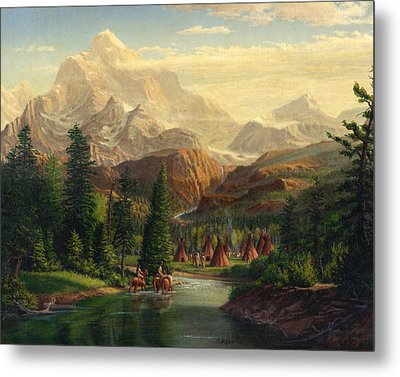Indian Village Trapper Western Mountain Landscape Oil Painting - Native Americans Americana Stream Metal Print