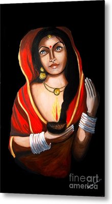 Indian Woman With Lamp Metal Print