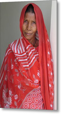 Indian Women In Red Metal Print