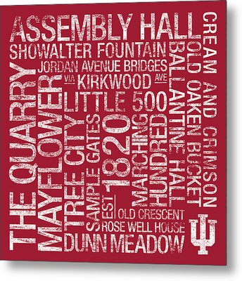 Indiana College Colors Subway Art Metal Print by Replay Photos