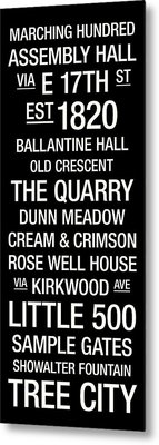 Indiana College Town Wall Art Metal Print