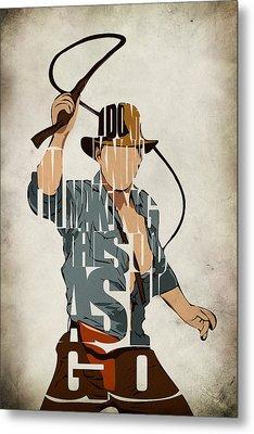 Indiana Jones - Harrison Ford Metal Print by Ayse and Deniz