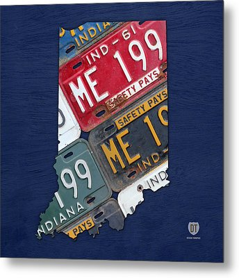 Indiana State License Plate Map Metal Print by Design Turnpike