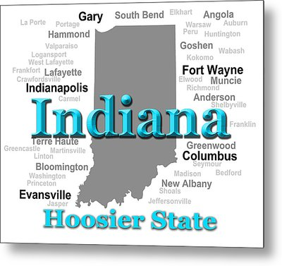 Indiana State Pride Map Silhouette  Metal Print by Keith Webber Jr