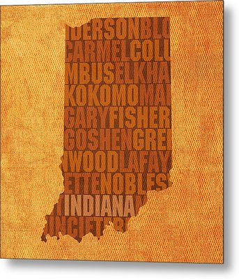 Indiana State Word Art On Canvas Metal Print