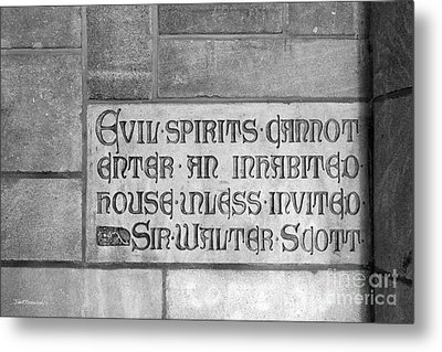 Indiana University Memorial Hall Inscription Metal Print by University Icons