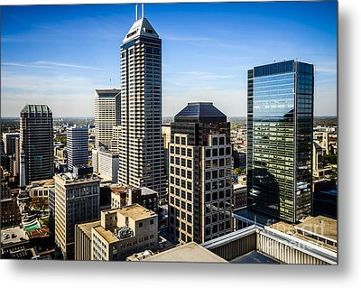 Indianapolis Aerial Picture Of Downtown Office Buildings Metal Print by Paul Velgos