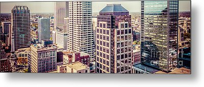 Indianapolis Aerial Retro Panorama Picture Metal Print by Paul Velgos
