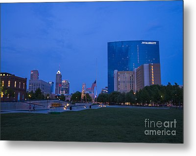 Indianapolis Blue Hour Skyline Metal Print by David Haskett