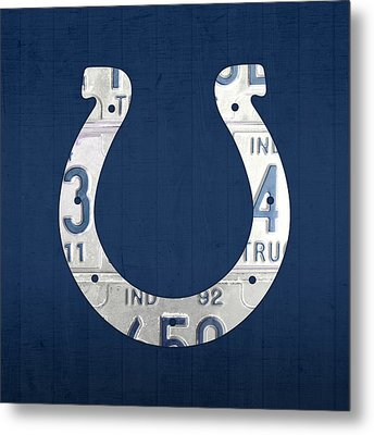 Indianapolis Colts Football Team Retro Logo Indiana License Plate Art Metal Print by Design Turnpike