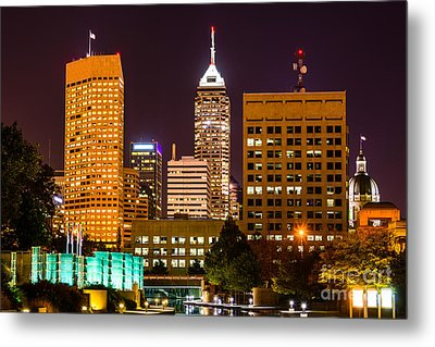 Indianapolis Skyline At Night Picture Metal Print by Paul Velgos