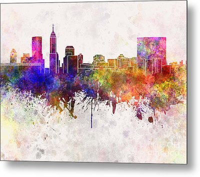 Indianapolis Skyline In Watercolor Background Metal Print by Pablo Romero