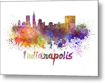 Indianapolis Skyline In Watercolor Metal Print by Pablo Romero