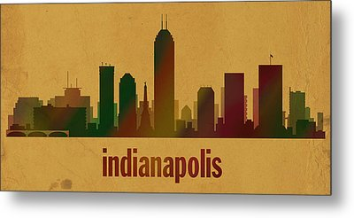 Indianapolis Skyline Watercolor On Parchment Metal Print by Design Turnpike