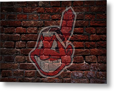 Indians Baseball Graffiti On Brick  Metal Print by Movie Poster Prints