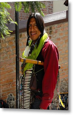 Indigenous Flute Player Metal Print by Al Bourassa