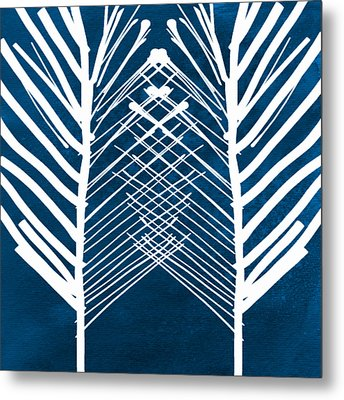 Indigo And White Leaves- Abstract Art Metal Print by Linda Woods