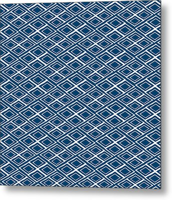 Indigo And White Small Diamonds- Pattern Metal Print by Linda Woods