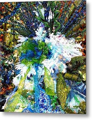 Indigo Blue Green Festive Holiday Metal Print by Janine Riley