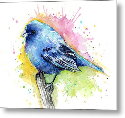 Indigo Bunting Blue Bird Watercolor Metal Print by Olga Shvartsur