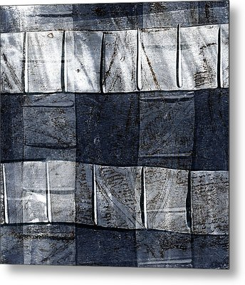 Indigo Squares 1 Of 5 Metal Print by Carol Leigh