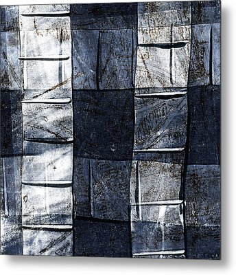 Indigo Squares 2 Of 5 Metal Print by Carol Leigh