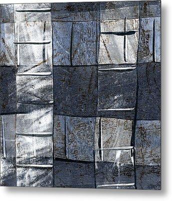 Indigo Squares 3 Of 5 Metal Print by Carol Leigh