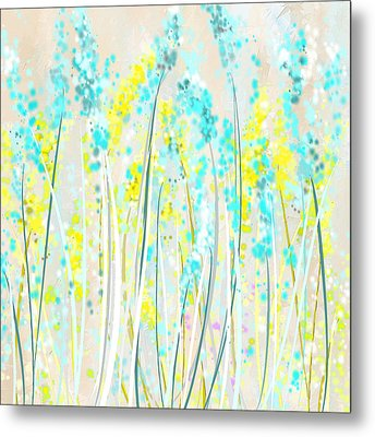 Indoor Spring- Yellow And Teal Art Metal Print