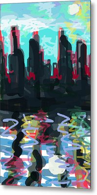 Industrial City On A River  Metal Print by Paul Sutcliffe
