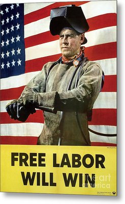 Industry Labour Poster, World War II Metal Print by Hagley Archive