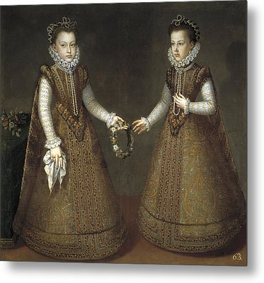 Infanta Isabella Clara Eugenia And Catalina Micaela Of Spain Metal Print by Alonso Sanchez Coello