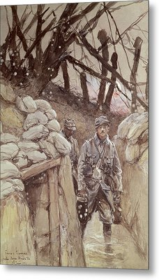 Infantrymen In A Trench, Notre-dame De Lorette, 1915 Wc On Paper Metal Print by Francois Flameng